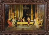 Handsome Billiards game, Giclee print with hand finishing. Signed illegibly (l.l.) Framed!! - Old Europe Antique Home Furnishings