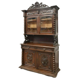Antique Sideboard, Hunt, French Henri II Style Carved Oak, 1800's, Gorgeous! - Old Europe Antique Home Furnishings