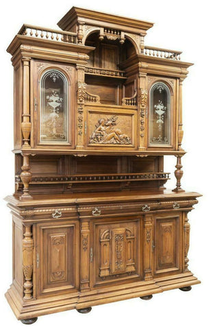 IMPRESSIVE MONUMENTAL FRENCH WALNUT CARVED SIDEBOARD, 19th C. ELITE COLLECTION!! - Old Europe Antique Home Furnishings