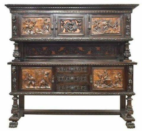 Italian Cabinet / Sideboard, Antique Renaissance Revival Walnut Sideboard, Early 1900s!! - Old Europe Antique Home Furnishings