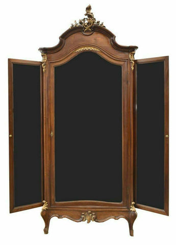Armoire, Mirrored, Italian Louis XV Style, Walnut Early 1900s, Gorgeous Armoire - Old Europe Antique Home Furnishings