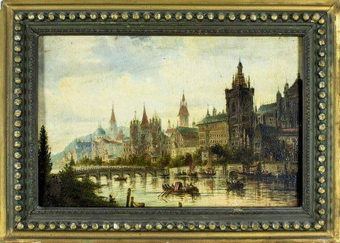 "Oil Painting Karl Kaufmann, ""Cityscape"", (Germany,Austria,1843-1905), Vintage!! - Old Europe Antique Home Furnishings"