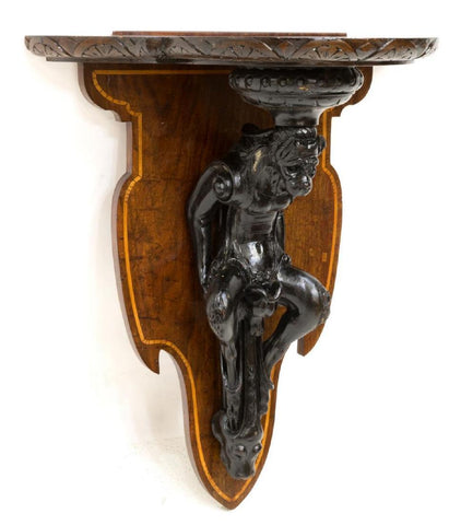 LOVELY TWO FIGURAL CARVED WALL BRACKETS ITALY, 19th Century ( 1800s )!!! - Old Europe Antique Home Furnishings