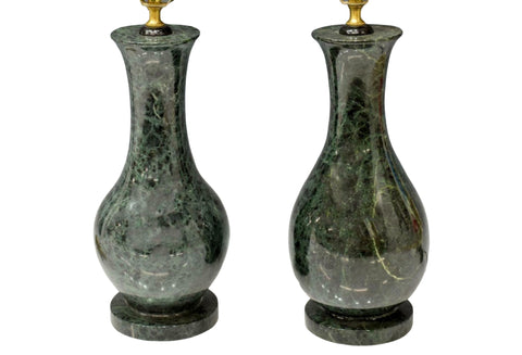 Lamps, Table, Dark Green Marble, 20th Century, Vasiform Standard,Gorgeous!!!! - Old Europe Antique Home Furnishings