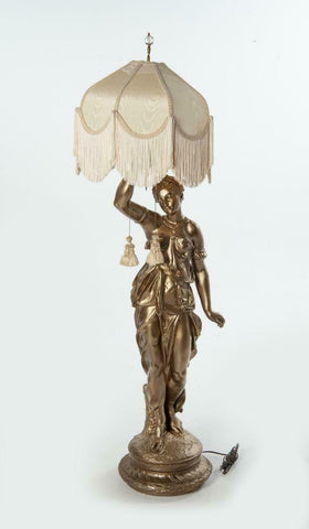 Gorgeous Large figural lamp of a Greek Maiden. Gold painted composition. - Old Europe Antique Home Furnishings