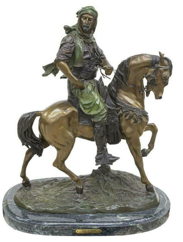 "Large Orientalist Bronze Figural, ""Arab on Horse"", after Antoine-Louis Barye!! - Old Europe Antique Home Furnishings"