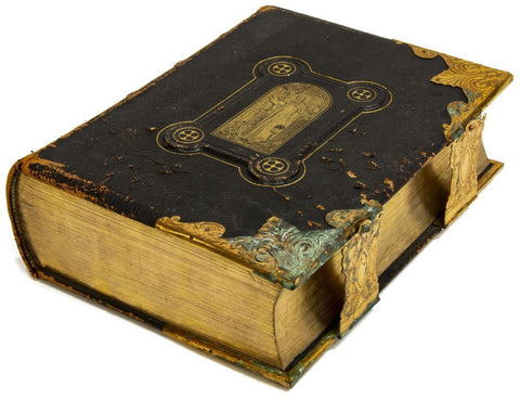 "Leather Bound Copy of ""The National Family Bible"", 19th Century - Old Europe Antique Home Furnishings"