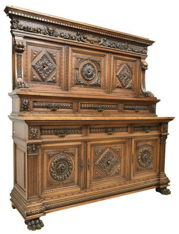 Antique Sideboard, Italian, Renaissance Display 1800's, Gorgeous,19th Century!!! - Old Europe Antique Home Furnishings