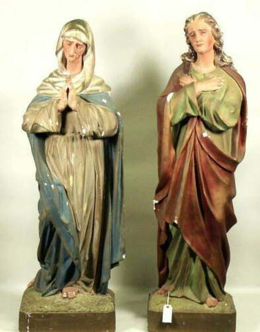 Antique Statues, Mary and Joseph, Near Life Size, Painted Plaster, 1800's - Old Europe Antique Home Furnishings