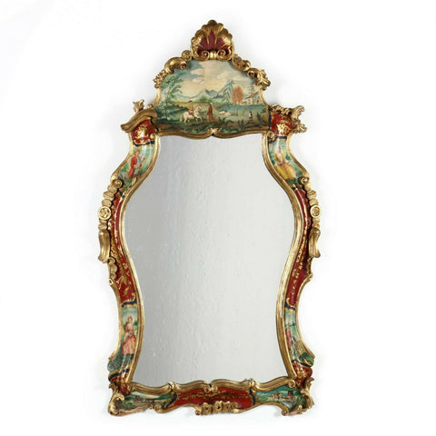 Mirror, Italian Baroque Venetian Style Painted Mirror, Vintage, Gorgeous Decor! - Old Europe Antique Home Furnishings