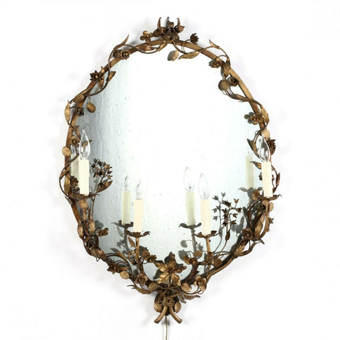 Mirror, Vintage Gilt or Sconce, Oval Gilt Tole Lighted Mirror, Gorgeous!! - Old Europe Antique Home Furnishings