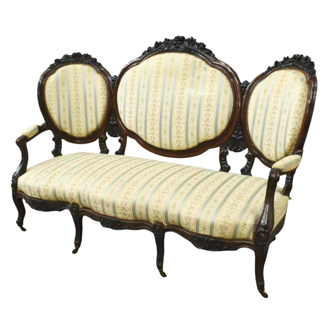 Antique Sofa, Napoleon III French, Triple Back, 19th C., 1800s, Gorgeous! - Old Europe Antique Home Furnishings