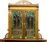 OUTSTANDING CONTINENTAL ART NOUVEAU STAINED GLASS SIDEBOARD, early 1900s!! - Old Europe Antique Home Furnishings