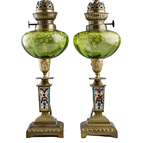 Oil Lamps, 19th C., French Champlevé and Art Gla, Pair, Lovely Antiques!! - Old Europe Antique Home Furnishings