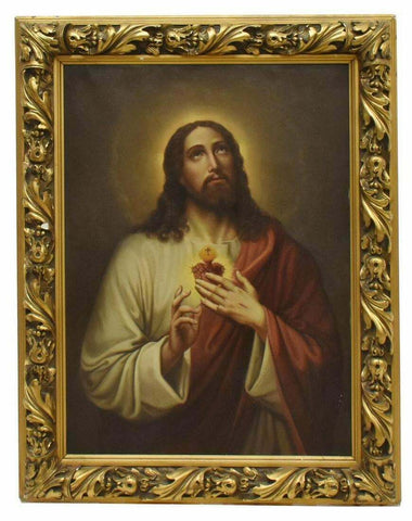 Beautiful Oil Painting, Framed Sacred Heart Of Christ, Vintage / Antique, Very Nice Work!! - Old Europe Antique Home Furnishings