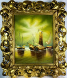 Oil Painting, Seascape Sailboat, Rococo Gold Gilt Frame, Vintage, Gorgeous!