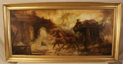 Oil on Canvas of Western Scene Signed with Horses Pulling a Stagecoach, Nice! - Old Europe Antique Home Furnishings