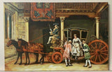 Painting on Canvas, Horses and Stagecoach, Colorful Scene, Handsome Painting !! - Old Europe Antique Home Furnishings
