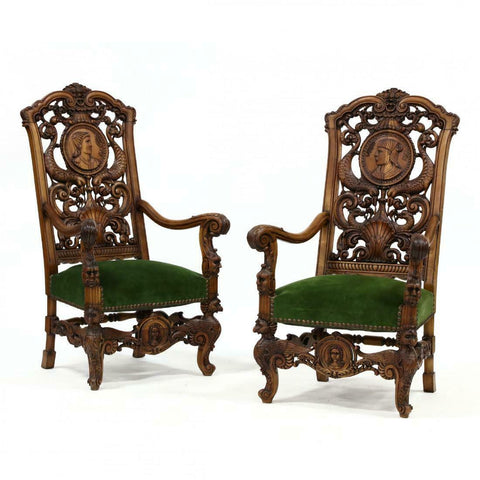 Amazing Pair of Spanish Baroque Style Carved Walnut Hall Chairs, early 1900s!!!