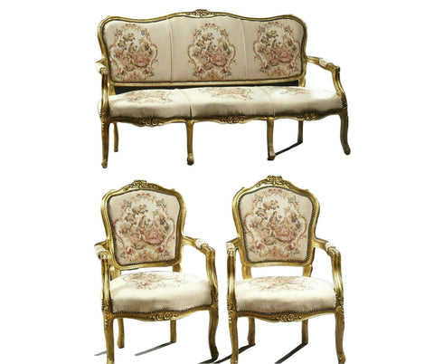 Parlor Set, Settee, Chairs, Two Louis XV Style Three-Piece Gilt Parlor Suite! - Old Europe Antique Home Furnishings