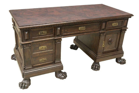 Desk, Renaissance Revival Walnut Pedestal, Early 1900s, Handsome Piece !! - Old Europe Antique Home Furnishings