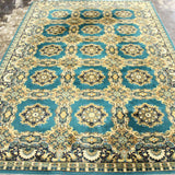 Rug, Blue / Green / Gold European Room Size Rug, Colorful and Gorgeous!! - Old Europe Antique Home Furnishings