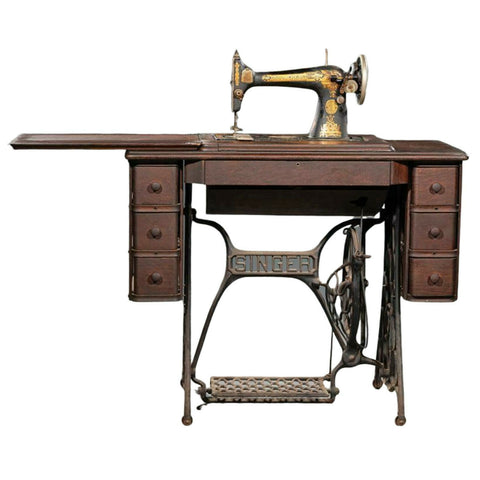Antique Sewing Machine, Singer, with Sewing Table, 19th C, ( 1800s ) Oak Case! - Old Europe Antique Home Furnishings