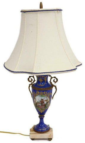 SEVRES STYLE HAND-PAINTED FIGURAL SCENE TABLE LAMP, Vintage / Antique - Old Europe Antique Home Furnishings