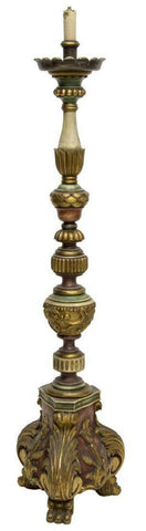 LOVELY SPANISH PARCEL GILT CARVED WOOD CHURCH LIGHT, 19th / 20th Century!! - Old Europe Antique Home Furnishings