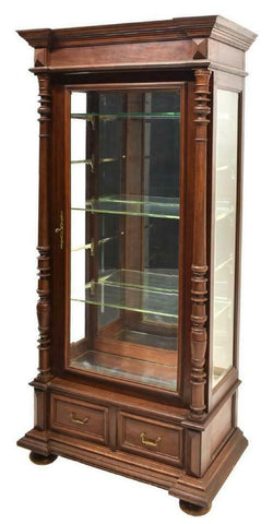 STUNNING FRENCH HENRI II STYLE GLAZED DOOR WALNUT VITRINE, 19th C. (1800's)!! - Old Europe Antique Home Furnishings