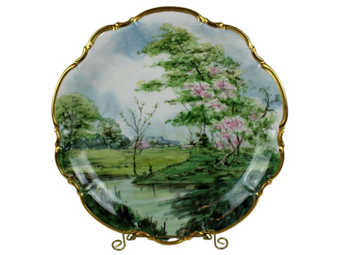 Platter, Bavarina, Hand Painted, 22 Kt. Gold Trim, Hutschenreuther Selb Bavarian, Stunning - Old Europe Antique Home Furnishings
