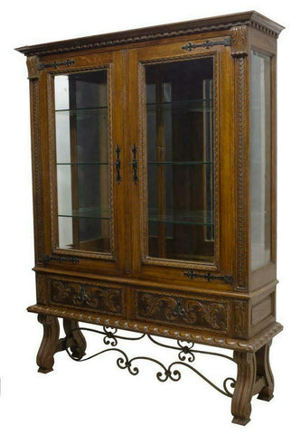 STUNNING SPANISH OAK GLAZED DISPLAY CABINET IRON STRETCHERS!! - Old Europe Antique Home Furnishings