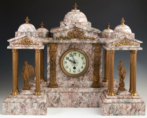 Absolutely Magnificent Continental Three Piece Gilt Spelter and Violette Marble Clock Set, 19th C.