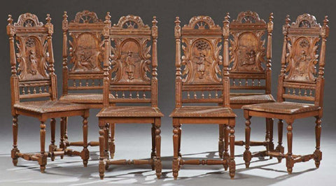 Set of Six Charming French Breton Carved Oak Dining Chairs,19th century (1800s)! - Old Europe Antique Home Furnishings