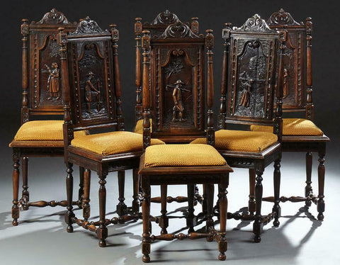 Set of Six Gorgeous French Breton Carved Oak Dining Chairs, 19th century ( 1800s )!! - Old Europe Antique Home Furnishings