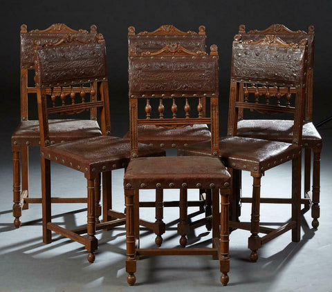 Charming Set of Six French Carved Oak Henri II Style Dining, 19th century ( 1800s ) - Old Europe Antique Home Furnishings