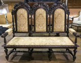 Antique Settee/Hall Bench, French Henri II, 19th Century ( 1800s ), Charming! - Old Europe Antique Home Furnishings