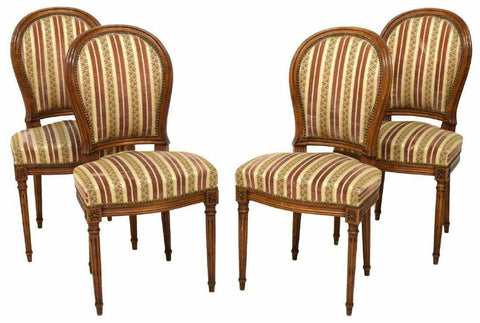 Side Chairs, 4 Italian Louis XVI Style Walnut, Striped Upholstered Vintage!! - Old Europe Antique Home Furnishings
