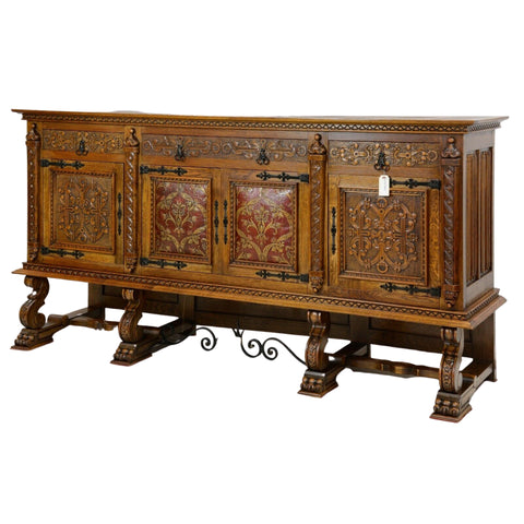 Sideboard, Red Leather, French Renaissance Style w/ Metal Stretcher, Dining Set - Old Europe Antique Home Furnishings