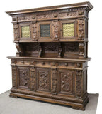 Sideboard, Italian, Renaissance Revival, Walnut, Early 1900s, Stunning Piece! - Old Europe Antique Home Furnishings