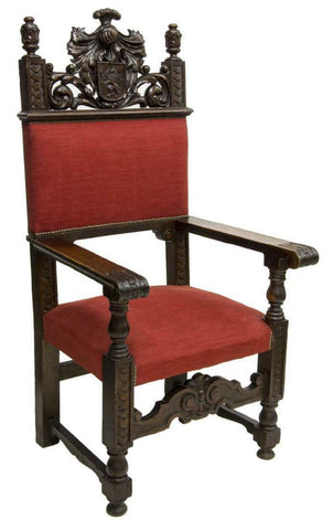 Antique Armchair, Throne, Spanish Renaissance Revival, Oak, Red, 19th C.,1800s!! - Old Europe Antique Home Furnishings