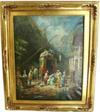 Antique Painting Oil, Passengers and a Stagecoach, 18th /19th C., Gorgeous Colors!! - Old Europe Antique Home Furnishings