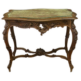 Antique Table, Salon, Entry French Louis XV Style Walnut, 1800s, Charming! - Old Europe Antique Home Furnishings