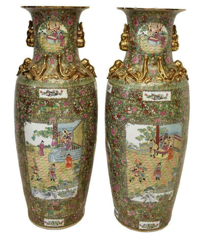 Vases, Chinese Rose Medallion, Porcelain Vases Gorgeous, Vintage, Set of Two!! - Old Europe Antique Home Furnishings