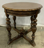Antique Side Table, Carved Wood, Walnut Toned, 30 Inches Tall, Very Versatile! - Old Europe Antique Home Furnishings
