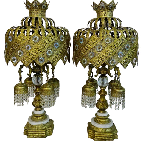 Table Lamps, Gilt & Jeweled Gold On Marble Bases, Vintage / Antique. Gorgeous!! - Old Europe Antique Home Furnishings