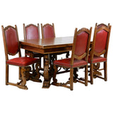 Table, Dining Set and Chairs, Red, Six, French Renaissance Style, Gorgeous Set! - Old Europe Antique Home Furnishings