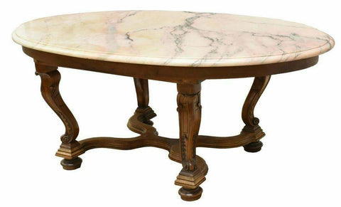 Table, Large French Marble-Top Carved Oval Walnut, Vintage / Antique, Gorgeous!! - Old Europe Antique Home Furnishings
