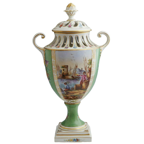 Antique Vase, Porcelain English Chelsea Gilt Decorated, Covered,1700s, Gorgeous! - Old Europe Antique Home Furnishings