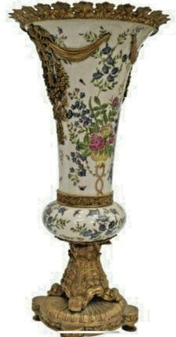 Vase, Floor, Ormolu-Mounted Porcelain, Gilt Bronze Mounts, 20th C., Gorgeous! - Old Europe Antique Home Furnishings
